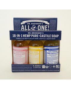 Dr Bronners Liquid soap geschenkverpakking 3 x 60 ml 3x60ml
