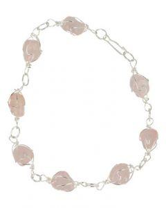 Ruben Robijn Armband/enkelband roze kwarts edelsteen wire 1st