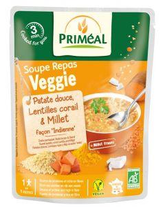 Zoete aardappel soep indian style