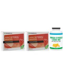 Arkopharma Arkosterol Rode Gist Rijst 2x 180 capsules met gratis pot Gezonderwinkelen Visolie 1.000mg 120 capsules