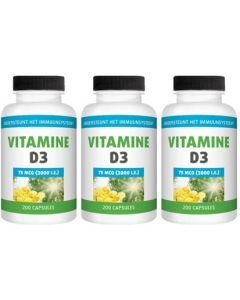Gezonderwinkelen Vitamine D 75mcg drie-pak 3x 200 capsules