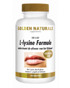 Golden Naturals L-Lysine formule one a day 180 tabletten (lipblaasjes formule)