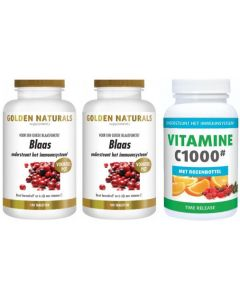 Golden Naturals Blaas twee-pak 2x 180 tabletten met gratis Gezonderwinkelen Vitamine C 1.000mg 250 tabletten