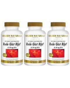 Golden Naturals Rode Gist Rijst & Q10 50mg 60 capsules 2+1 gratis! (= dus 3x60 capsules!)