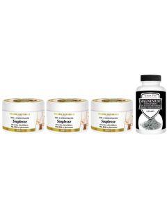 Golden Naturals Souplesse Spier- & Gewrichtsbalsem trio 3x 200ml + gratis pot Health Food Magnesium 60 tabletten