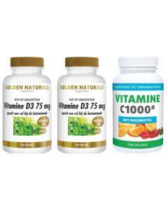 Golden Naturals Vitamine D3 75 mcg 360 capsules met gratis Gezonderwinkelen Vitamine C 1.000mg 250 tabletten