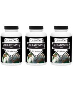 Health Food Super Melatonine 3mg drie-pak 3x 365 tabletten (stuntprijs, op=op!)