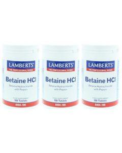 Lamberts Betaine HCL 8404-180 drie-pak 3x 180 tabletten