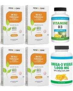 New Care B6, B12 & Foliumzuur 60zuigtab. 4-pak 4 x 60 tabletten + Gratis Gezonderwinkelen Visolie 120 capsules en Vitamine D 75mcg 200 capsules