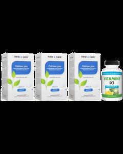 New Care Calcium Plus 3-pak 3x 60 tabletten & Gratis Gezonderwinkelen Vitamine D3 75mcg 200 capsules