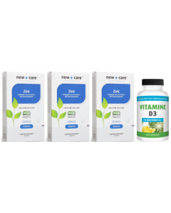 New Care Zink 90 tabletten 3-pak + gratis Gezonderwinkelen Vitamine D 75mcg 200 capsules t.w.v. 29,95
