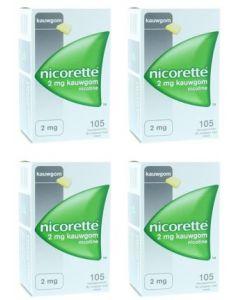 Nicorette Kauwgom 2 mg classic 4-pak = 4x 105 stuks