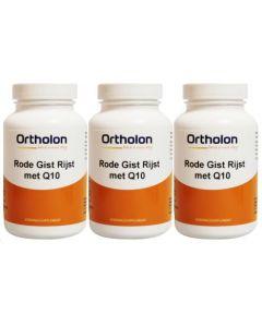 Ortholon Rode gist rijst Q10 trio-pak 3x 120 vcaps