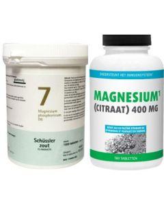 Pfluger Schussler Magnesium phosphoricum 7 D6 Schussler 1000 tabletten & Gezonderwinkelen Magnesium Citraat 400mg 180 tabletten Voordeelpak