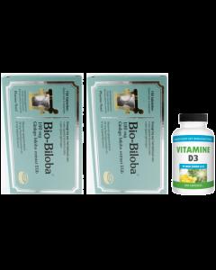 Pharma Nord Bio Biloba 100mg 2-pak 2x 150 tabletten & gratis Gezonderwinkelen Vitamine D3 75mcg 20 capsules