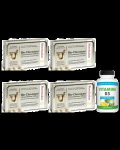 Pharma Nord Bio-Chromium Bloedsuiker 4-pak 4x 60 tabletten & gratis Gezonderwinkelen Vitamine D3 75mcg 200 capsules