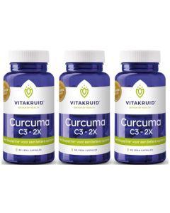 Vitakruid Curcuma C3-2X triopak 3x 60 capsules (=180 capsules)