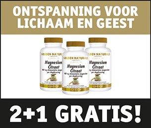 Golden Naturals magnesium citraat 2 1 60 tabletten triopak